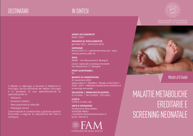 Master universitario Malattie Metaboliche e Screening Neonatale